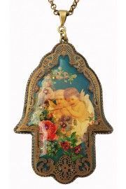 Michal Negrin Music Cherubs Filigree Hamsa Necklace