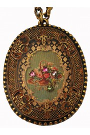 Michal Negrin Victorian Roses Oval Filigree Necklace