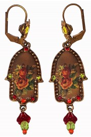 Michal Negrin Retro Roses Hamsa Earrings