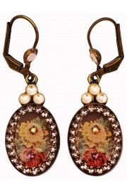 Michal Negrin Antique Roses Cameo Oval Earrings