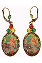 Michal Negrin Multicolor Cherub Cameo Earrings