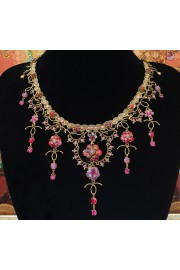 Michal Negrin Red Purple Fuchsia Floral Drop Choker Necklace