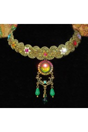 Michal Negrin Multicolor Woven Lace Choker Necklace