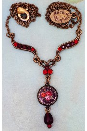 Michal Negrin Red Miniature Rose Cameo Necklace