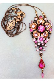 Michal Negrin Pink Floral Pendant Necklace