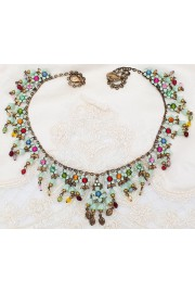 Michal Negrin Multicolor Light Green Flowers Beads Necklace