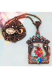Michal Negrin Turquoise Roses Kabbalah Locket Necklace