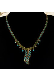 Michal Negrin Turquoise Feather Braided Necklace