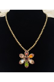 Michal Negrin Earth Tones Daisy Beaded Necklace