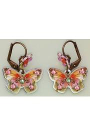 Michal Negrin Pink Green Butterfly Flower Earrings