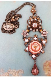 Michal Negrin Carved Rose Pearl Peach Pendant Necklace