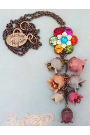 Michal Negrin Multicolor Bells Drop Necklace