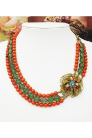 Michal Negrin Tangerine Green Retro Beads Choker Necklace