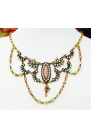 Michal Negrin Pink Green Victorian Necklace