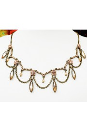 Michal Negrin Pearl Peach Drops Roses Necklace