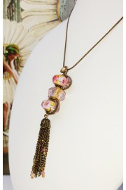 Michal Negrin Pink Murano Glass Beads Pendant Necklace