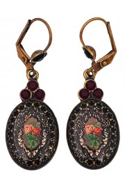 Michal Negrin Black Dark Red Roses Cameo Oval Earrings