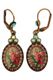 Michal Negrin Pearl Rose Cameo Oval Earrings