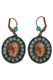 Michal Negrin Turquoise Oval Cameo Earrings