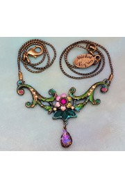 Michal Negrin Pink Green Purple Peony Necklace