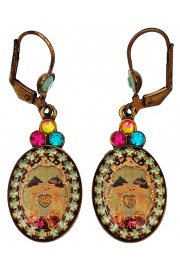 Michal Negrin Dolls Kiss Cameo Oval Earrings