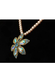 Michal Negrin Pearl Blue Daisy Beaded Necklace