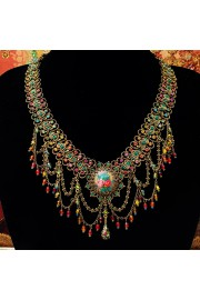Michal Negrin Multicolor Cameo Party Necklace