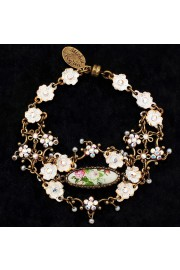 Michal Negrin White Delicate Oval Cameo Floral Bracelet