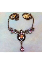 Michal Negrin Lilac Pastel Pearl Crystals Cameo Necklace