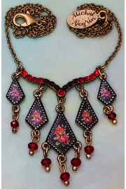 Michal Negrin Red Roses Miniature Pendants Necklace