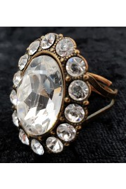 Michal Negrin Silver Oval Crystal Ring