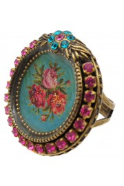 Michal Negrin Round Rose Cameo Crystal Ring