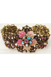 Michal Negrin Pink Tie-Dye Flower Crystals Bracelet