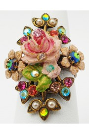 Michal Negrin Pink Green Pearl Rose Crystals Ring
