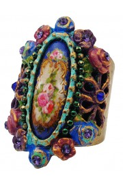 Michal Negrin Victorian Cameo Floral Cuff Ring