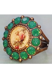 Michal Negrin Round Rose Cameo Green Crystal Ring
