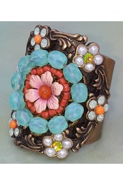 Michal Negrin Pearl Coral Crystal Beads Cuff Ring