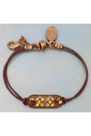 Michal Negrin Yellow Celtic Flowers Cord Bracelet