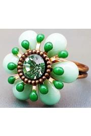 Michal Negrin Green Retro Flower Ring