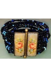 Michal Negrin Midnight Blue Beaded Roses Bracelet