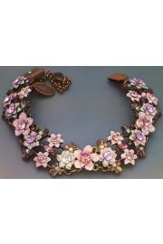 Michal Negrin Pink Green Flowers Bracelet