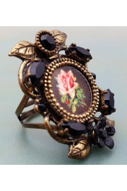 Michal Negrin Rose Cameo Black Crystal Ring