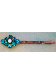Michal Negrin Turquoise Crystal Flower Hairpin