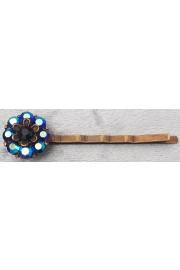 Michal Negrin Midnight Blue Crystal Flower Hairpin