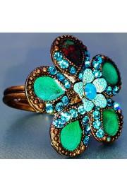 Michal Negrin Turquoise Enamel Petals Flower Ring
