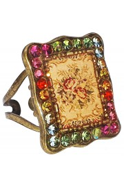 Michal Negrin Multicolor Roses Rectangle Ring
