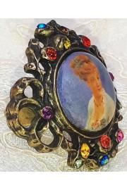 Michal Negrin Victorian Portrait Cameo Antique Ring