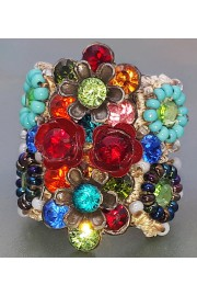 Michal Negrin Multicolor Roses Crystal Cuff Ring