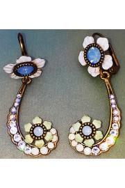 Michal Negrin Floral Crystal Swirl Earrings