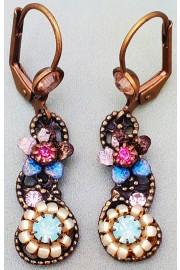 Michal Negrin Sea Green Pink Blue Swirl Earrings
